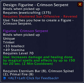 Crimson Serpent Trinket - Jewelcrafting
