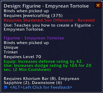Empyrean Tortoise Trinket - Jewelcrafting