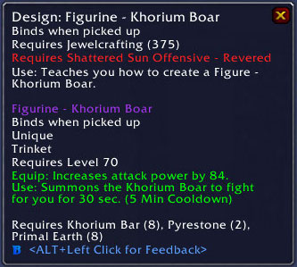 Khorium Boar Trinket - Jewelcrafting