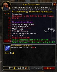 3.1 Test Realm: Titansteel Spellblade for Blacksmithing