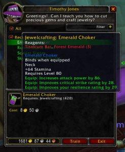Emerald Choker (3.1 Jewelcrafting Recipe)