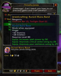 Runed Mana Band (3.1 Jewelcrafting Recipe)