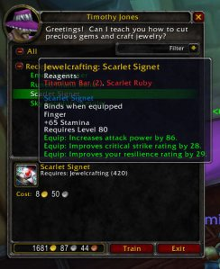 Scarlet Signet (3.1 Jewelcrafting Recipe)