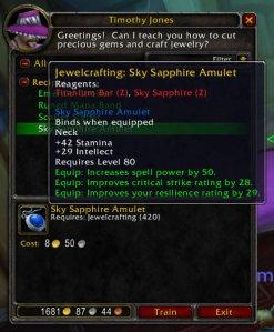Sky Sapphire Amulet (3.1 Jewelcrafting Recipe)
