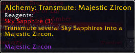 Transmute Epic Gem: Majestic Zircon (blue stone)