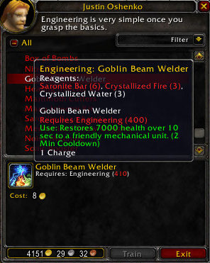 New in Patch 3.2 - Goblin Beam Welder