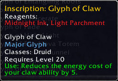 New in Patch 3.2 - Glyph of Claw